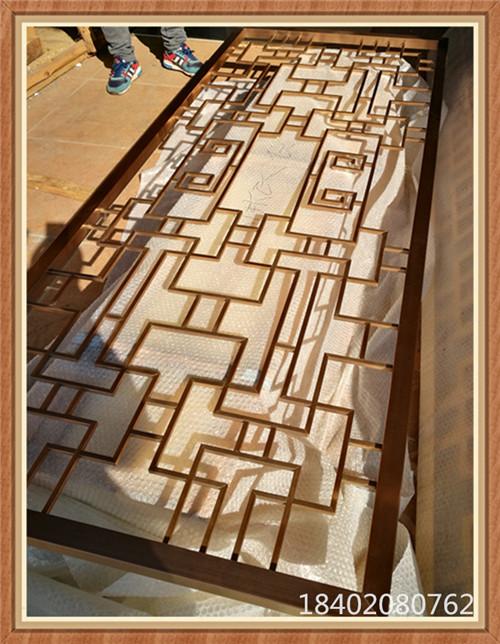 玫瑰金中式花格 中式花格餐桌不锈钢屏风 现代花格隔断